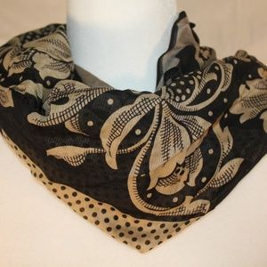Perry Ellis black & cream cotton scarf, 29x29